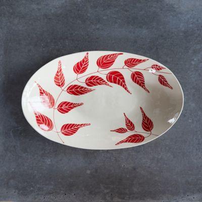 Red Leaf Ceramic Platter, Oval