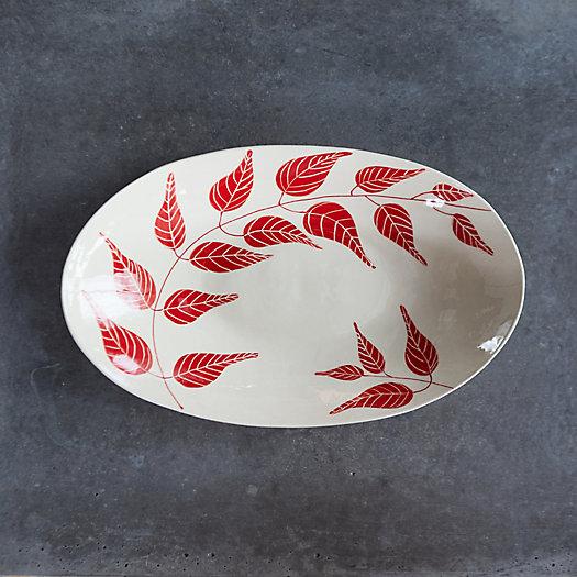 View larger image of Red Leaf Ceramic Platter, Oval