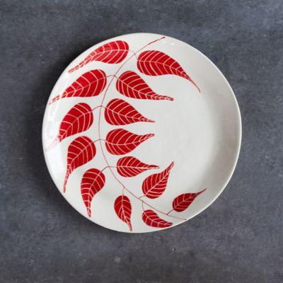 Red Leaf Ceramic Platter, Round