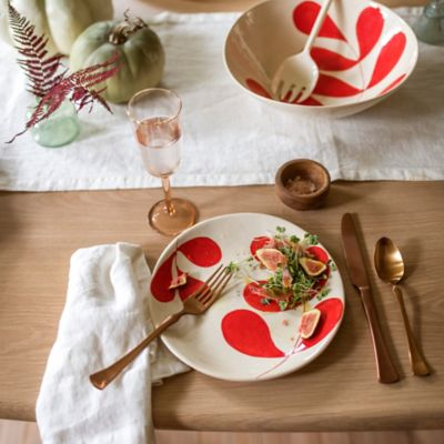 Red Leaf Ceramic Salad Plate
