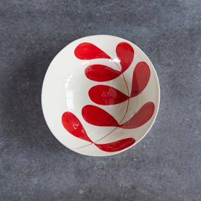Red Leaf Ceramic Serving Bowl, Large