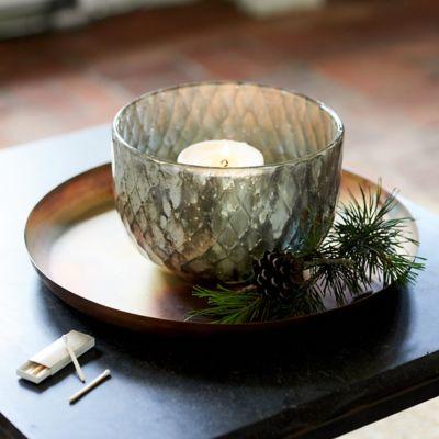 Aged Metallic Glass Hurricane Bowl