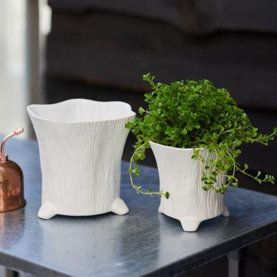 Ceramic Wood Grain Taper Pot