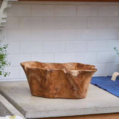 Teak Root Wave Serving Bowl