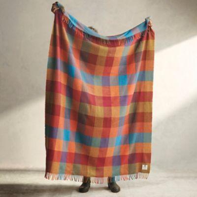 Sunset Check Merino Wool Throw