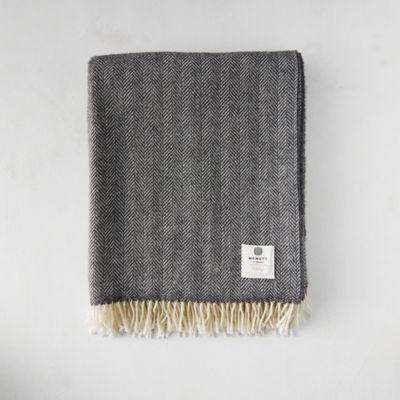 Storm Herringbone Merino Wool Throw