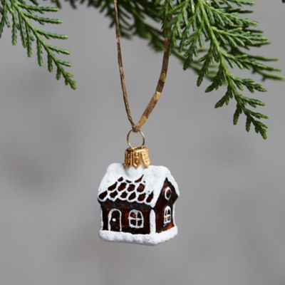 Mini Gingerbread House Glass Ornament