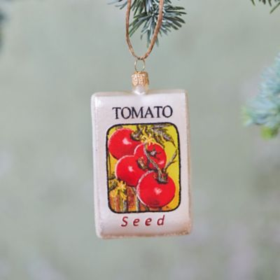 Tomato Seed Glass Ornament
