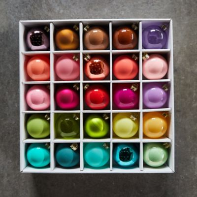 Glass Bulb Ornament Set, 25