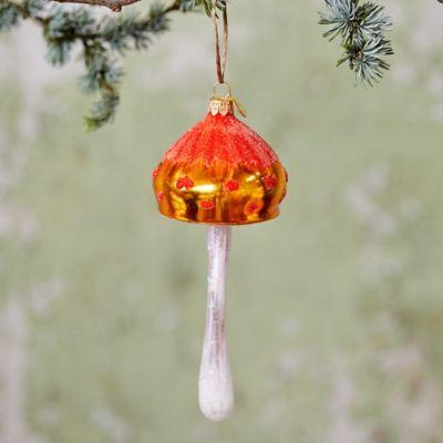 Orange Glass Mushroom Ornament
