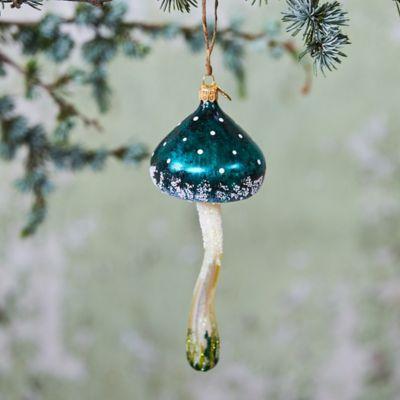 Teal Glass Mushroom Ornament