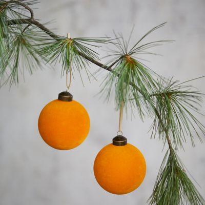 Velvet Globe Ornaments, Set of 2