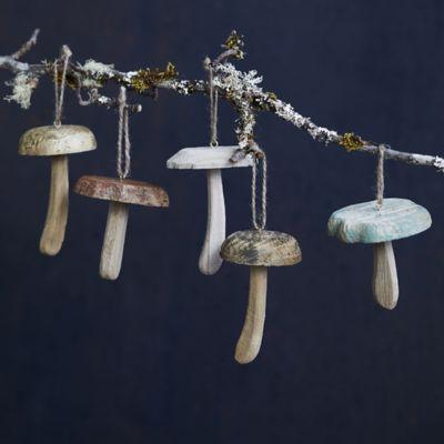 Mushroom Wood Ornaments, Set of 5