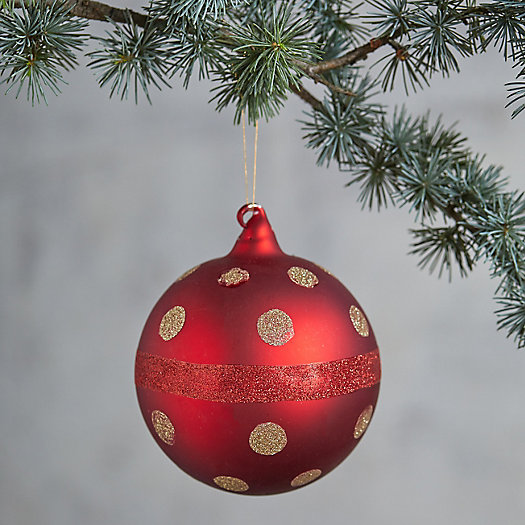 View larger image of Red + Gold Dot Globe Ornament