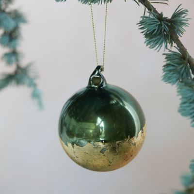 Green + Gold Foil Globe Ornament