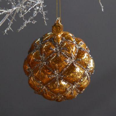 Textured Gold Glass Globe Ornament