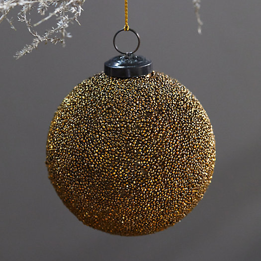 View larger image of Beaded Bronze Glass Globe Ornament
