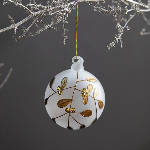 View larger image of Gilded Mistletoe Glass Globe Ornament