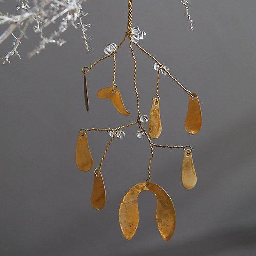 View larger image of Leafy Branch Brass + Glass Ornament