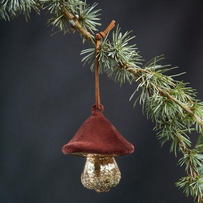 Velvet + Glass Mushroom Ornament, Low