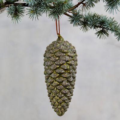 Green Glitter Pine Cone Ornament