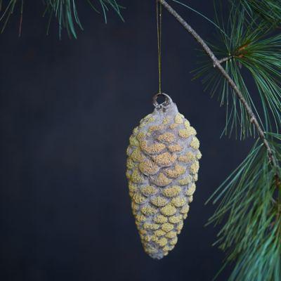 Golden Glass Pine Cone Ornament