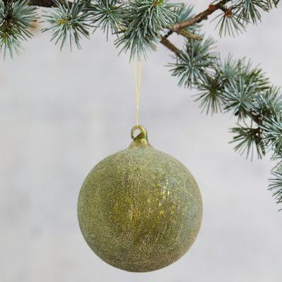 Sugared Green Glass Globe Ornament