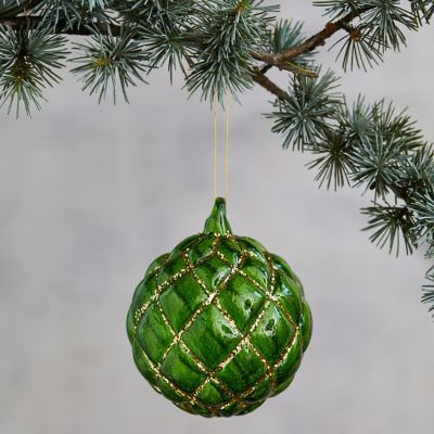 Embossed Green Glass Globe Ornament