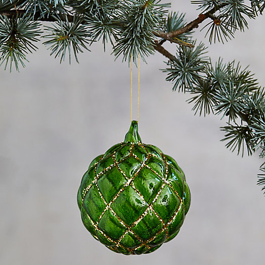 View larger image of Embossed Green Glass Globe Ornament