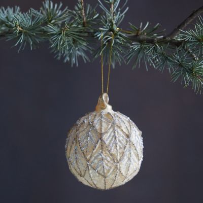 Sugared Leaf Glass Globe Ornament