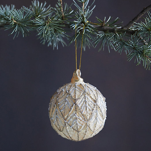 View larger image of Sugared Leaf Glass Globe Ornament