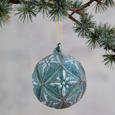 Glitter Floral Glass Globe Ornament