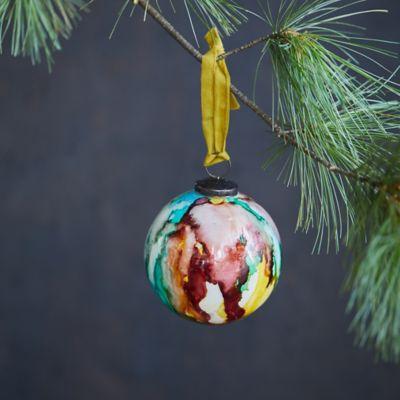 Glossy Marbled Glass Globe Ornament