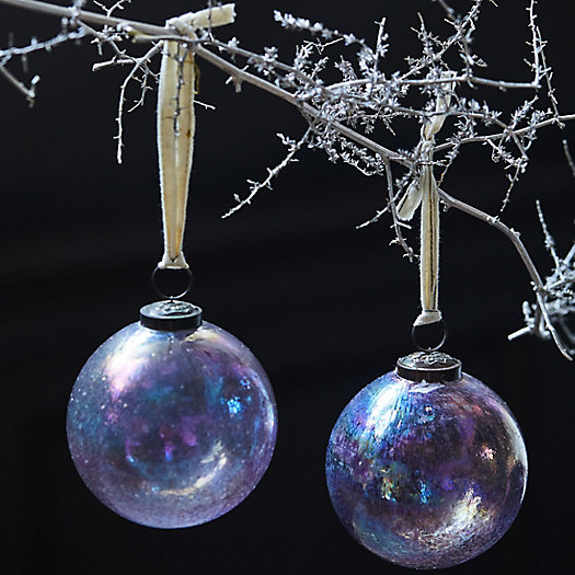 View larger image of Iridescent Purple Globe Ornaments, Set of 2