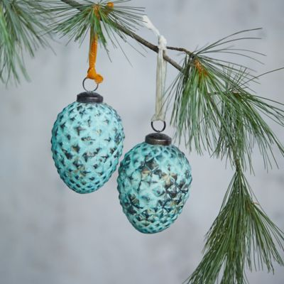 Turquoise Pinecone Glass Ornaments, Set of 2