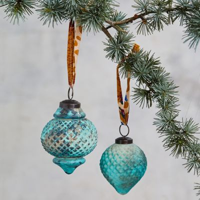 Turquoise Finial Ornaments, Set of 2
