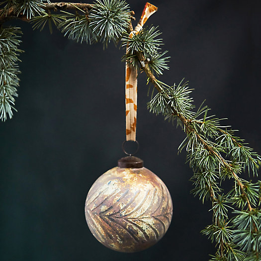 View larger image of Antiqued Leaf Glass Globe Ornament