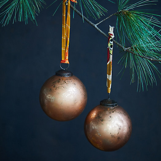 View larger image of Copper Foil Globe Ornaments, Set of 2