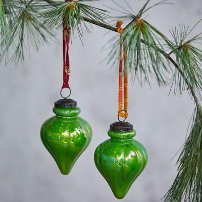 Prismatic Drop Glass Ornaments, Set of 2