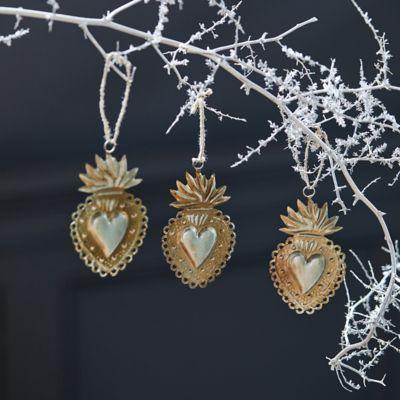 Framed Heart Ornaments, Set of 3
