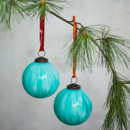 View larger image of Brushstroke Glass Globe Ornaments, Set of 2