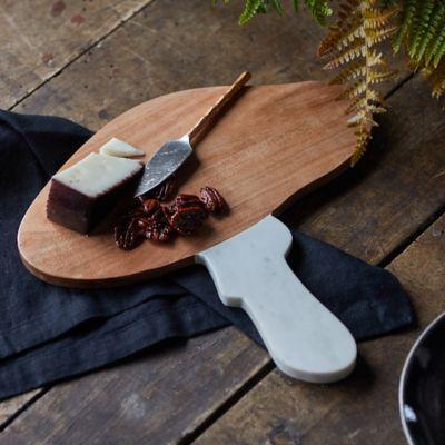 Mushroom Wood + Marble Serving Board