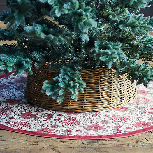 View larger image of Festive Florals Block Printed Tree Skirt