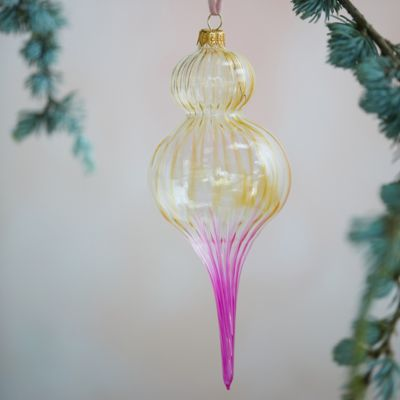 Ombre Blown Glass Finial Ornament, Pink + Brown
