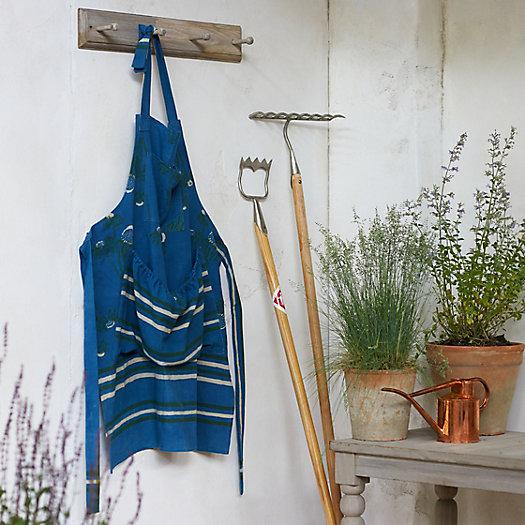 View larger image of Blue Stripe Block Print Cotton Apron