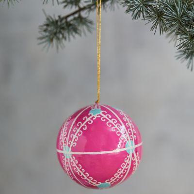 Pink Papier Mache Globe Ornament