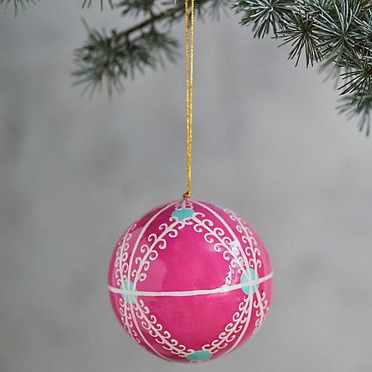 View larger image of Pink Papier Mache Globe Ornament