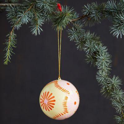 Lemon Papier Mache Globe Ornament
