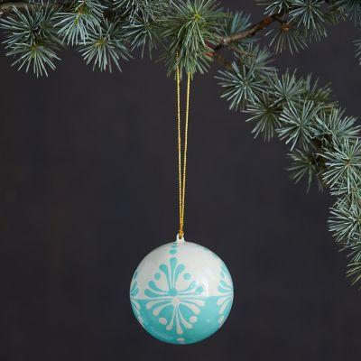 Sky + Snow Papier Mache Globe Ornament