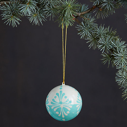 View larger image of Sky + Snow Papier Mache Globe Ornament